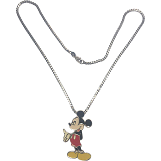 Vintage Sterling Silver Enamel Mickey Pendant and chain