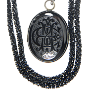 ANTIQUE Victorian Mourning Whitby Jet Locket and Chain RARE