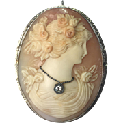 ANTIQUE Victorian Cameo 14K white gold genuine diamond brooch/pendant