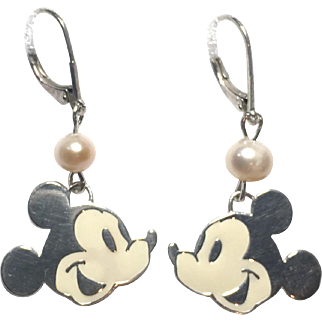Sterling Silver Mickey Earrings with Enamel and Genuine Freshwater pearl