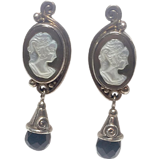Vintage Cameo earrings sterling, MOP and faceted black Onyx