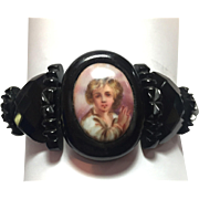 Antique Victorian Mourning Whitby Jet cameo bracelet