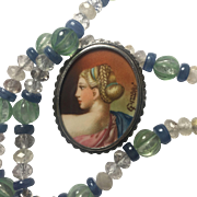 Antique Silver Cameo hand painted miniature portrait Necklace: Natural Green Amethyst, Rutilated Quartz, Kyanite/ Upcycled