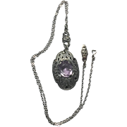 Antique Amethyst Sterling Silver Marcasite necklace