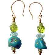 18K Gold Vermeil Natural Peridot, Kingman Mine Turquoise and Blue Topaz earrings