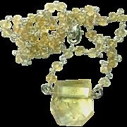 Large 20 Carat Natural Citrine sterling Silver Necklace