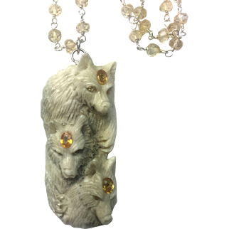 Wolf Carving Cameo Antler Natural Yellow Sapphire, citrine sterling silver necklace