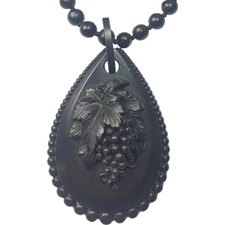 ANTIQUE Victorian Mourning Vulcanite Grape Teardrop pendant necklace