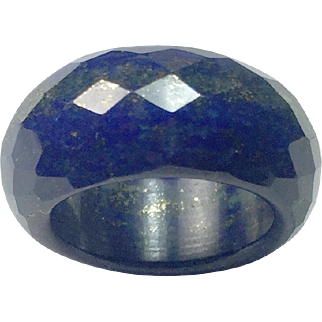Hand carved faceted Lapis Lazuli Ring