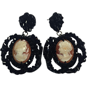 RARE Amedeo Handcarved Cameo and Jet beaded earrings