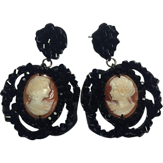 RARE Amedeo Handcarved Cameo Jet beads earrings