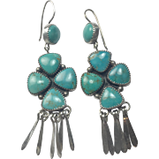 Vintage Navajo turquoise chandelier earrings: Sterling Silver / signed / Large stones