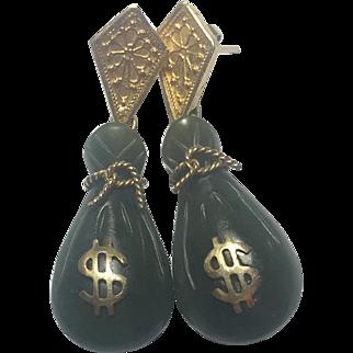 Vintage Unusual 18K Gold earrings with Jade drops