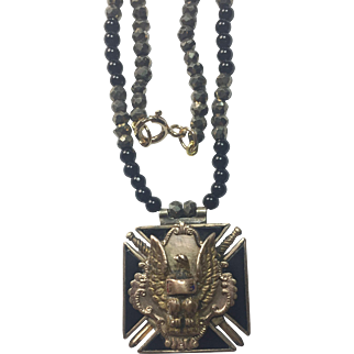 Antique Victorian Fraternal Order of Eagles pendant and jasper pyrite necklace