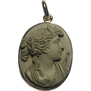 Antique Victorian Lava Cameo in 14K Solid Gold pendant: Goddess Diana