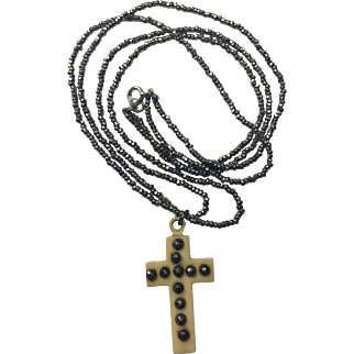 Antique Victorian Ivorine Cut Steel Cross and cut steel double strand necklace