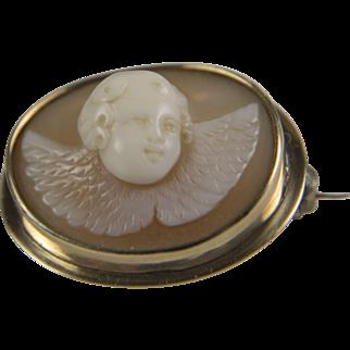 ANTIQUE Victorian 14K Gold Cherub Cupid Cameo pin: High relief RARE