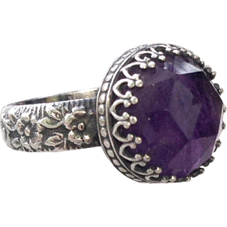 Large Rose cut Amethyst Sterling Silver Medieval  Renaissance style ring : over 4 Carats: signed