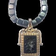Antique Victorian Locket Intaglio Cameo: Medusa / solid 10k Rose Gold / Rare