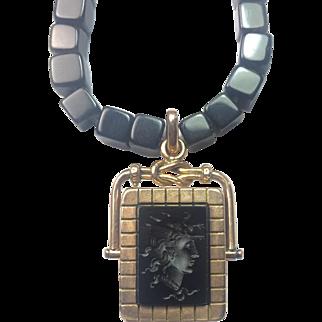 Antique Victorian Locket Intaglio Cameo: Medusa / solid 10k Gold / Rare