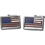 Vintage  Patriotic Sterling American Flag inlaid cufflinks: Lapis Lazuli, Mother of Pearl and Coral