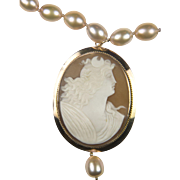 Vintage Art Deco Cameo Pendant and Blush Pearl necklace: Up-cycled Solid 9K and 14K Gold / AAA Natural Pearl necklace / Goddess Diana