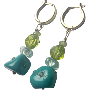 14K solid Gold Genuine TURQUOISE: Peridot and blue topaz  earrings