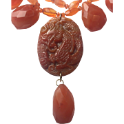 Natural Hand carved Carnelian Dragon 14K Gold necklace