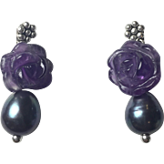 Natural Carved Amethyst and Freshwater black cultured Pearl earrings: Solid Sterling Silver