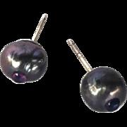 Natural Freshwater Peacock Pearl and Amethyst earrings