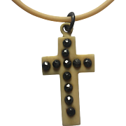 Antique Victorian Ivorine Celluloid Cut Steel Cross:RARE