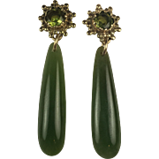 14K solid Gold Peridot and Natural Jade drop earrings Victorian Etruscan Style