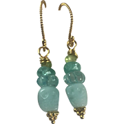 Natural carved Amazonite Skull, Apatite, Blue Topaz, Peridot Earrings: 18K Gold Vermeil