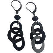 Vulcanite Mourning chain earrings