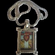 Vintage Sterling Silver Spanish Santa Fe Folk Art Handpainted Burning Heart Pendant: glass cover