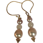 Freshwater Cultured Pearl Natural Blush color and 18K Gold Vermeil drop earrings