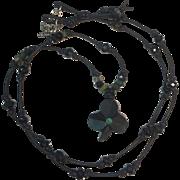 Bog Oak Shamrock, emerald and green/black tourmalines