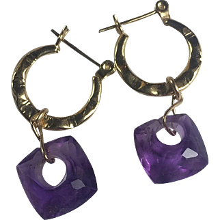 14k Gold mini hoops with Fancy Natural Amethysts