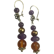 Sterling silver, Amethyst, Cultured Pearl and Natural Amber earrings