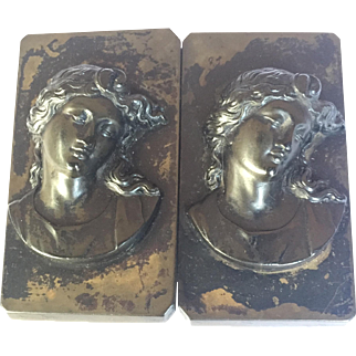 Antique Victorian Vulcanite Mourning Belt buckle: Very Large Double Cameo: RARE