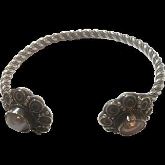 ANTIQUE Edwardian  Sterling Silver Baroque Pearl bracelet