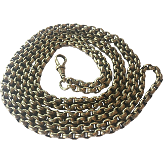 Antique Victorian Sterling Silver Long Guard Chain: 56inches