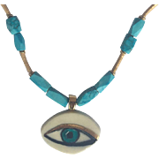 Persian Turquoise, 18k gold plated Ceramic Eye, Leather cord Necklace: One-of-a-kind