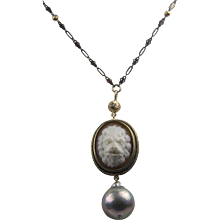 RARE Lion Cameo / Huge Cultured Baroque Pearl, 14K Gold, diamond and Sterling Silver Necklace