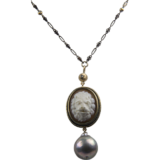 Georgian Lion Cameo / Huge Cultured Baroque Pearl, 14K Gold, diamond and Sterling Silver Necklace