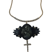 Whitby Jet Angel, 14K gold, platinum and diamond necklace