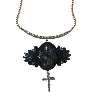 Whitby Jet Angel, 14K gold, platinum and diamond necklace