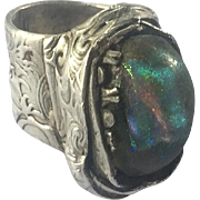 Vintage Signed .999 pure silver metal clay and Ancient Glass Ring
