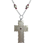 Carved Mother of Pearl cross, Ruby, Cultured Pearl and Sterling Silver Necklace