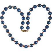Art Deco Chinese Export Lapis Lazuli and Coral necklace: Cerulean Blue Lapis